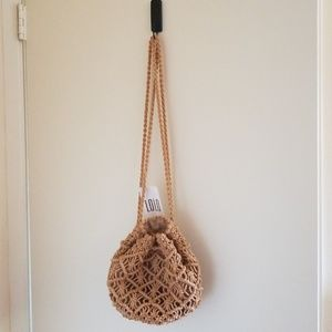 Mini Boho Raffia Macrame Backpack